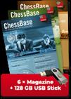 ChessBase Magazin Jahres-Abonnement (6 Ausgaben ChessBase Magazin) - original ChessBase USB stick with 128 GB *