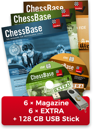 ChessBase Magazine annual subscription plus EXTRA - original ChessBase USB stick with 128 GB *