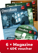 ChessBase Magazine one year subscription - 40 € Voucher for first-time subscribers!**