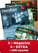 ChessBase Magazine one year subscription plus EXTRA - 40 € Voucher for first-time subscribers!**