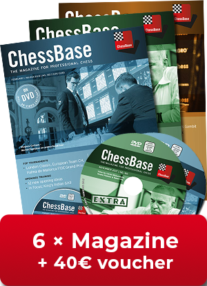 ChessBase Magazine one year subscription - 40 € Voucher for new subscribers!**
